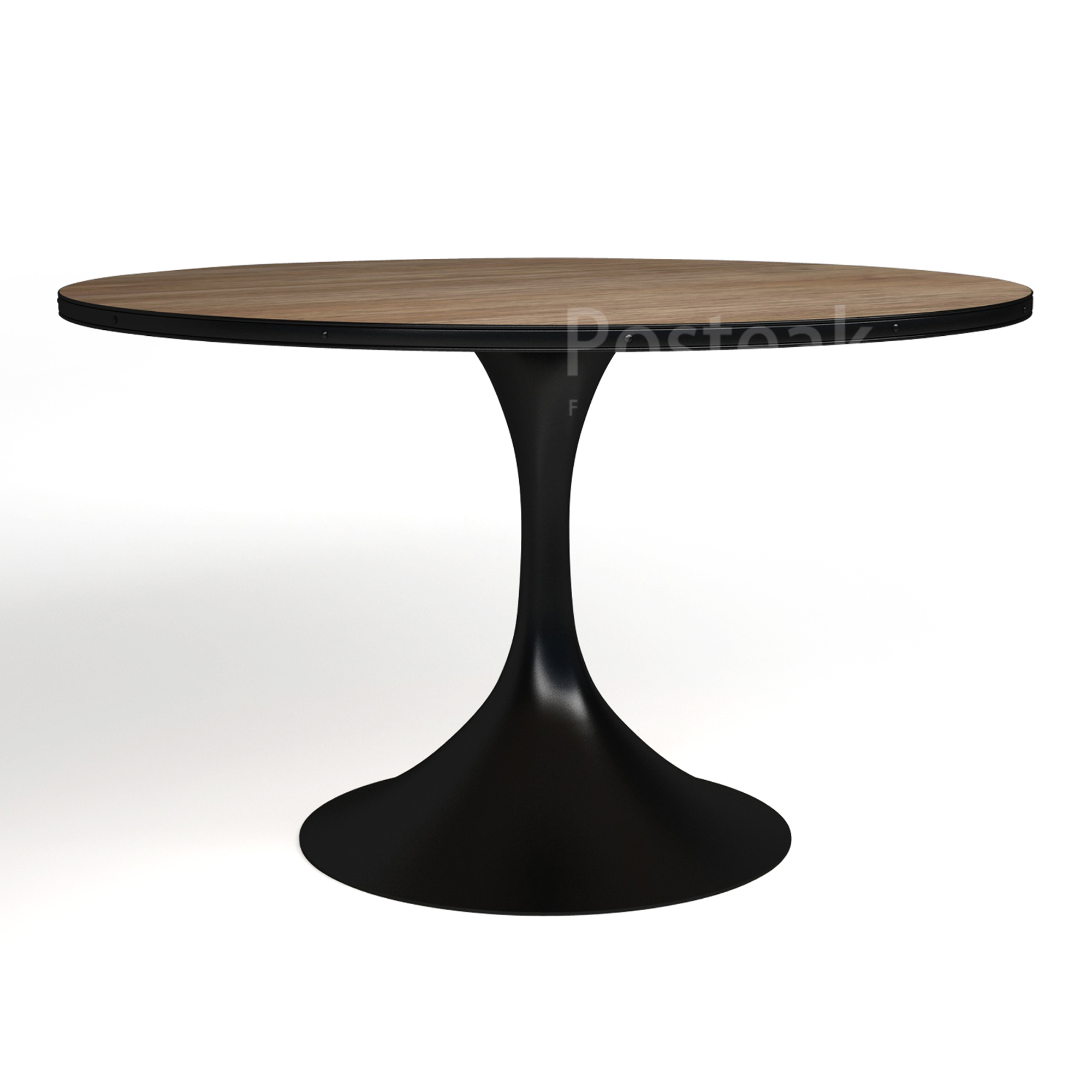 industrial dining table round  single metal legs