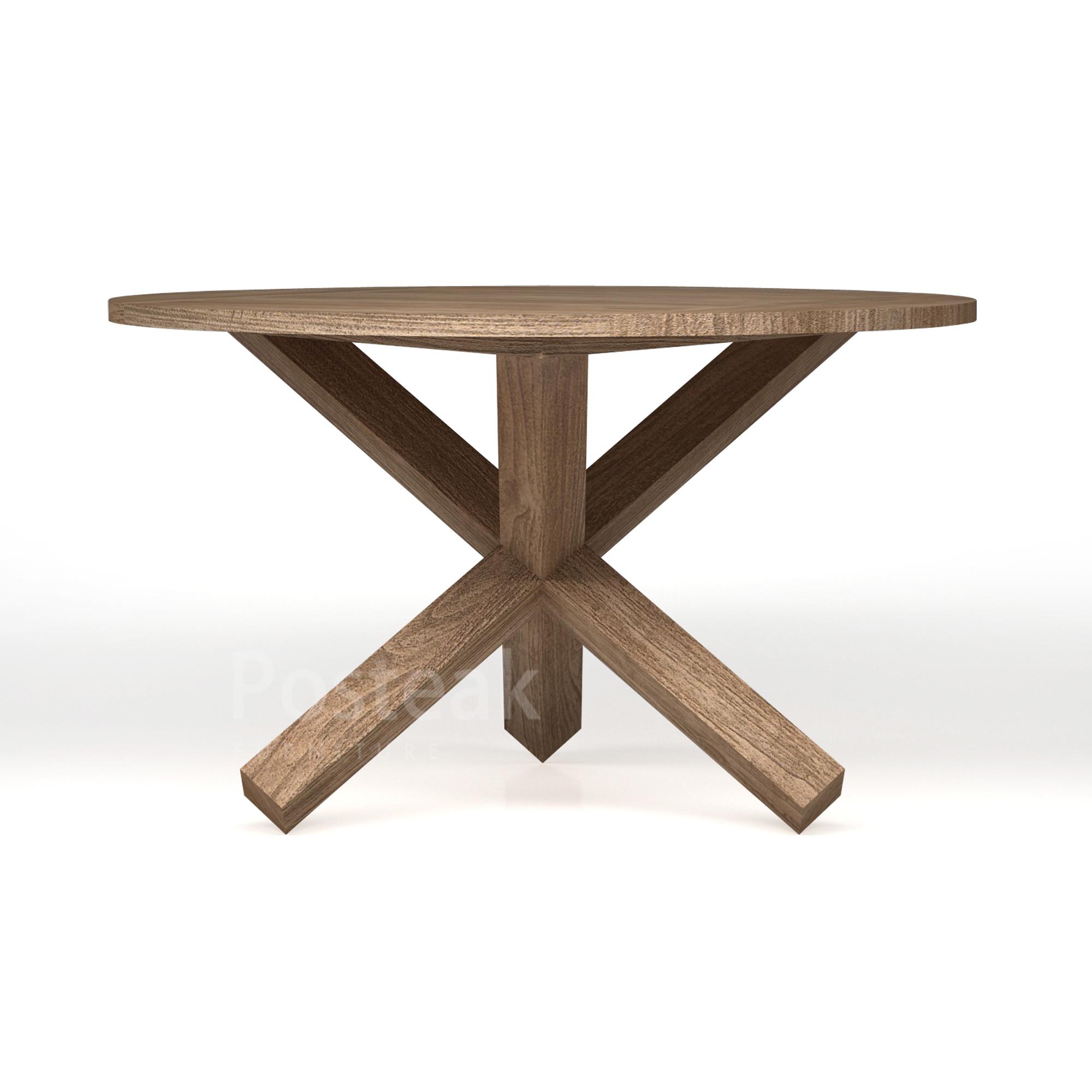 Round Dining Table Modern Cross Legs Posteak Furniture