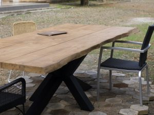 live edge teak table top